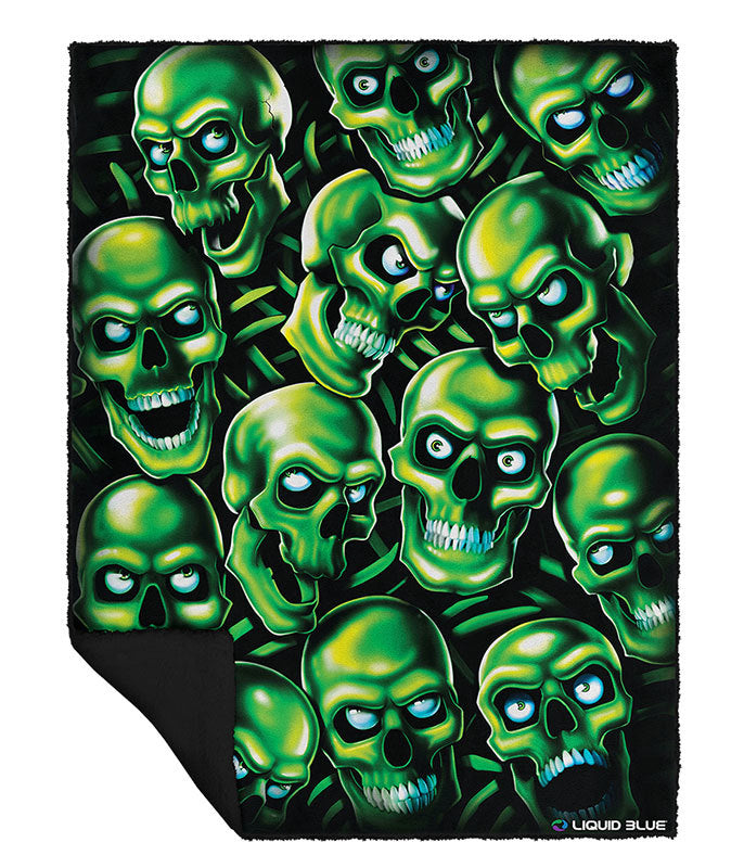LIQUID BLUE SKULL PILE GREEN  BLANKET