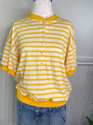 VINTAGE LADIES YELLOW STRIPED SHIRT CATALINA  SHIRT