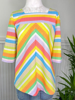 VINTAGE RAINBOW CHEVRON STRIPED FROCK POLYESTER SHIRT