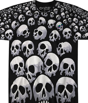SON OF SKULLS ALLOVER PRINT LIQUID BLUE T-SHIRT