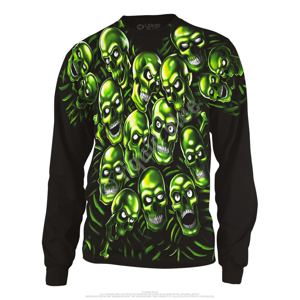 LIQUID BLUE GREEN SKULL PILE LS T- SHIRT SMALL