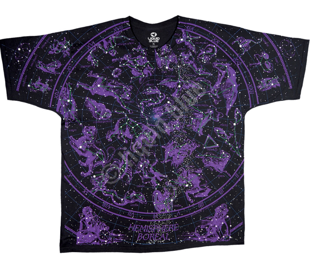 LIQUID BLUE CONSTELLATIONS ZODIAC BLACK T SHIRT