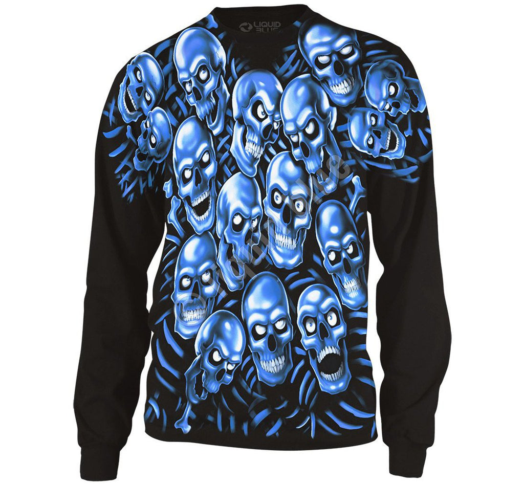 Liquid Blue Skull Pile Blue Black Long Sleeve T-Shirt