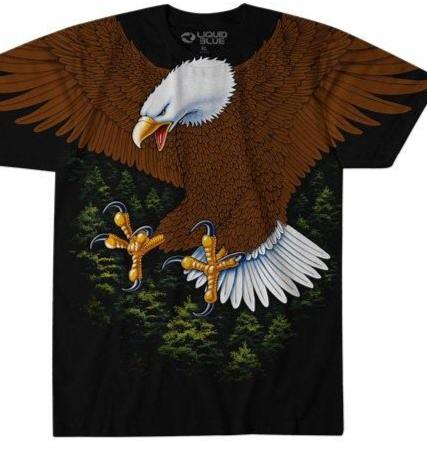 LIQUID BLUE EAGLE ALL OVER PRINT  T SHIRT