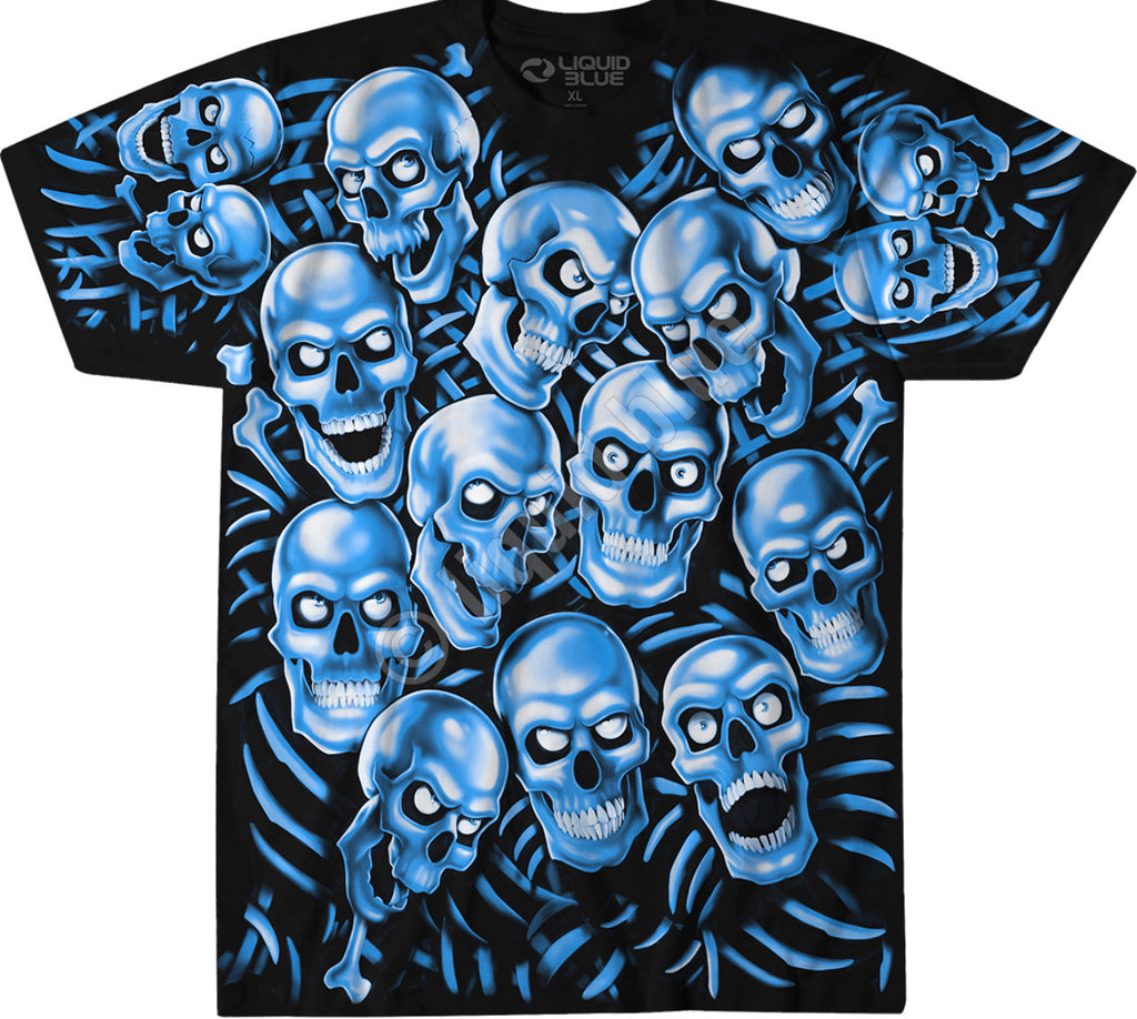 LIQUID BLUE SKULL PILE BLUE  T SHIRT