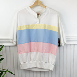 Vintage Pastel Color-block Shirt