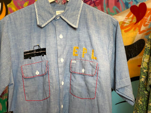 VINTAGE BIG MAC EMBROIDERED CHAMBRAY DENIM BUTTON UP