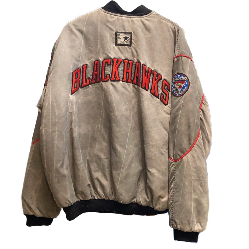 BLACKHAWKS STARTER ACID WASH JACKET