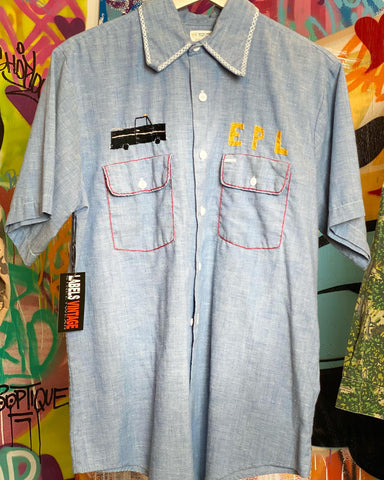 VINTAGE DENIM SPELL OUT JACKET MED