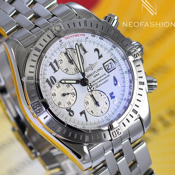 Breitling Chronomat Evolution Stainless Steel White Dial A13356 - NeoFashionStore