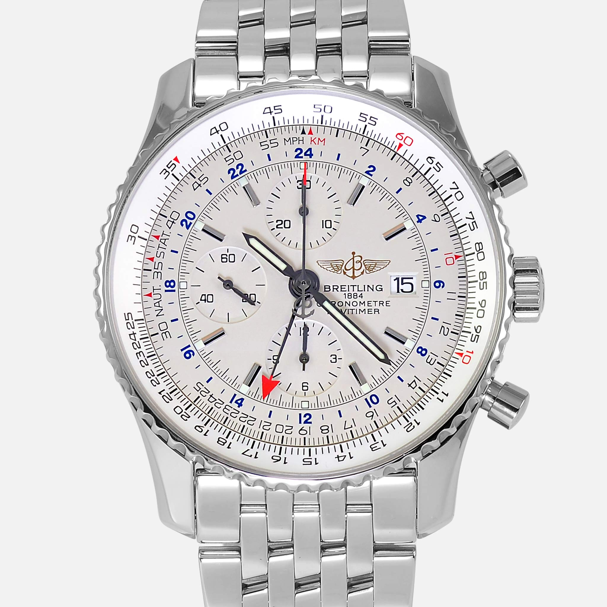 Breitling Navitimer World Gmt 2nd Time Zone A24322 Mens Watch