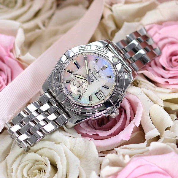 Ladies Breitling Galactic Automatic 36 Pearl Dial A37330 - NeoFashion Store