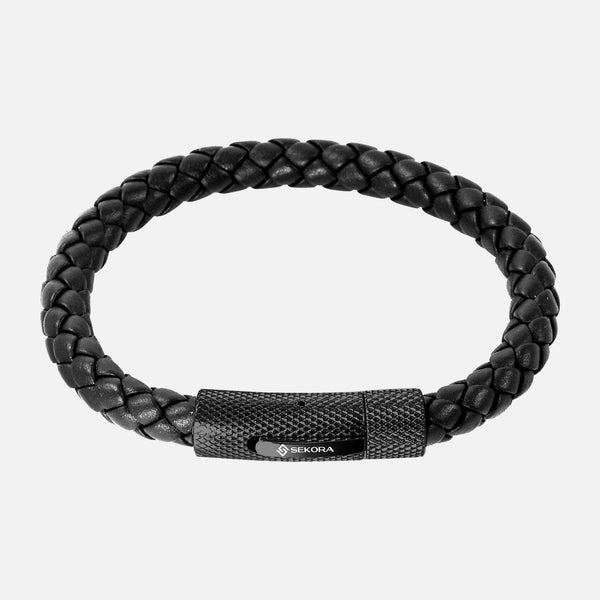 Sekora Black PVD Braided Nappa Leather Bracelet - NeoFashionStore