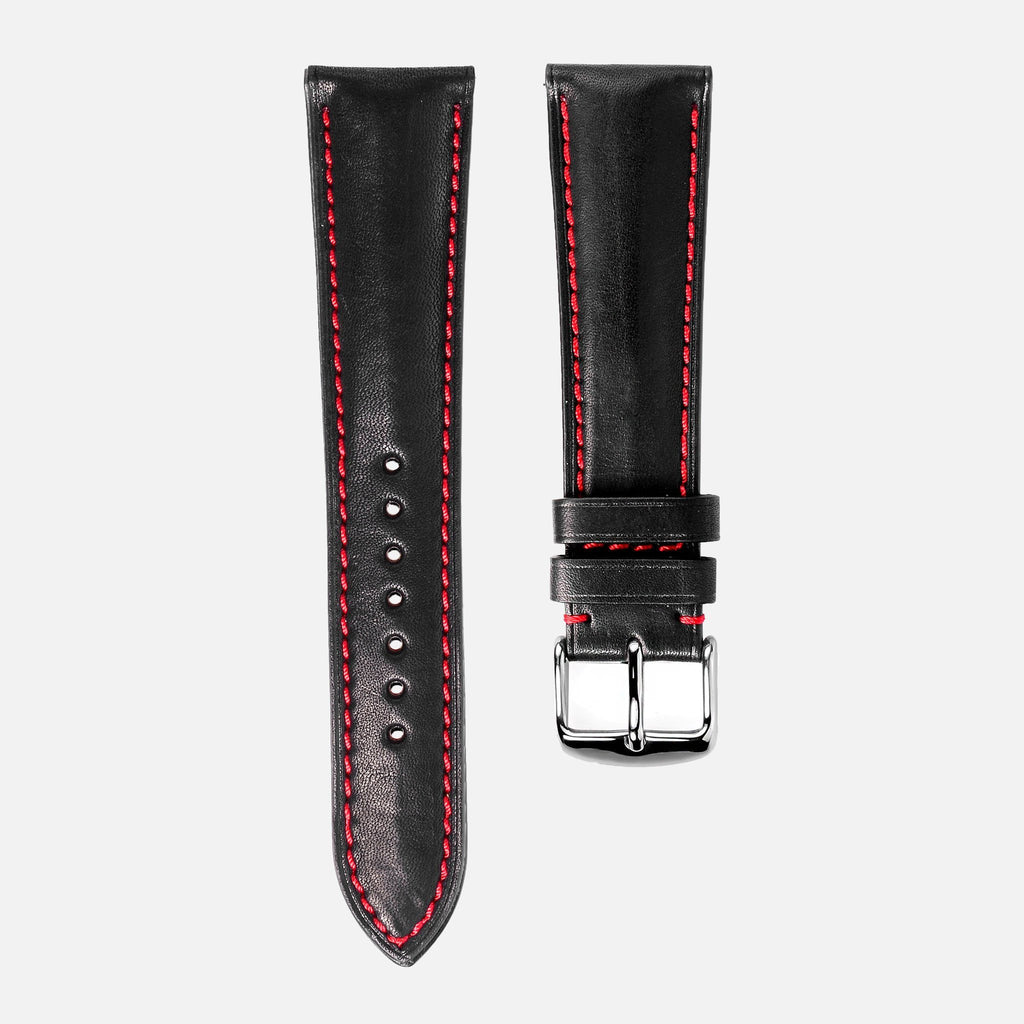 Black Calfskin Leather With Red Stitching Watch Strap - NeoFashionStore