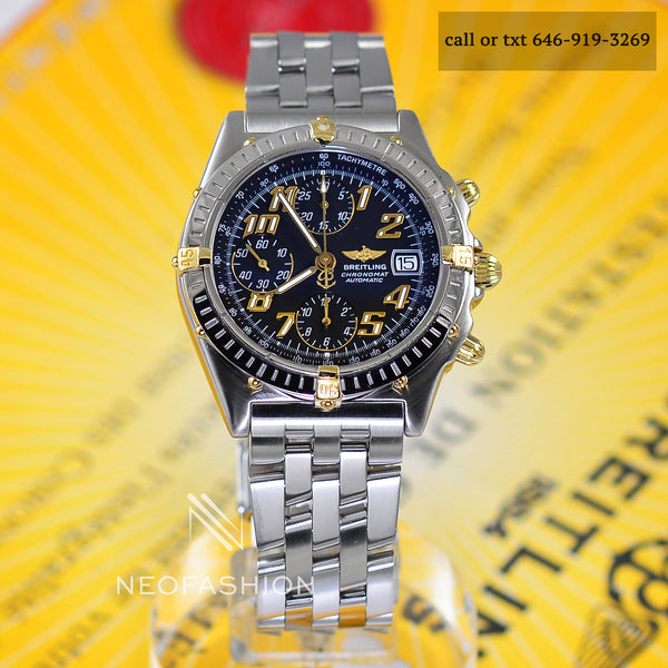 breitling chronomat mens GT watch with black dial model number b13350 40mm