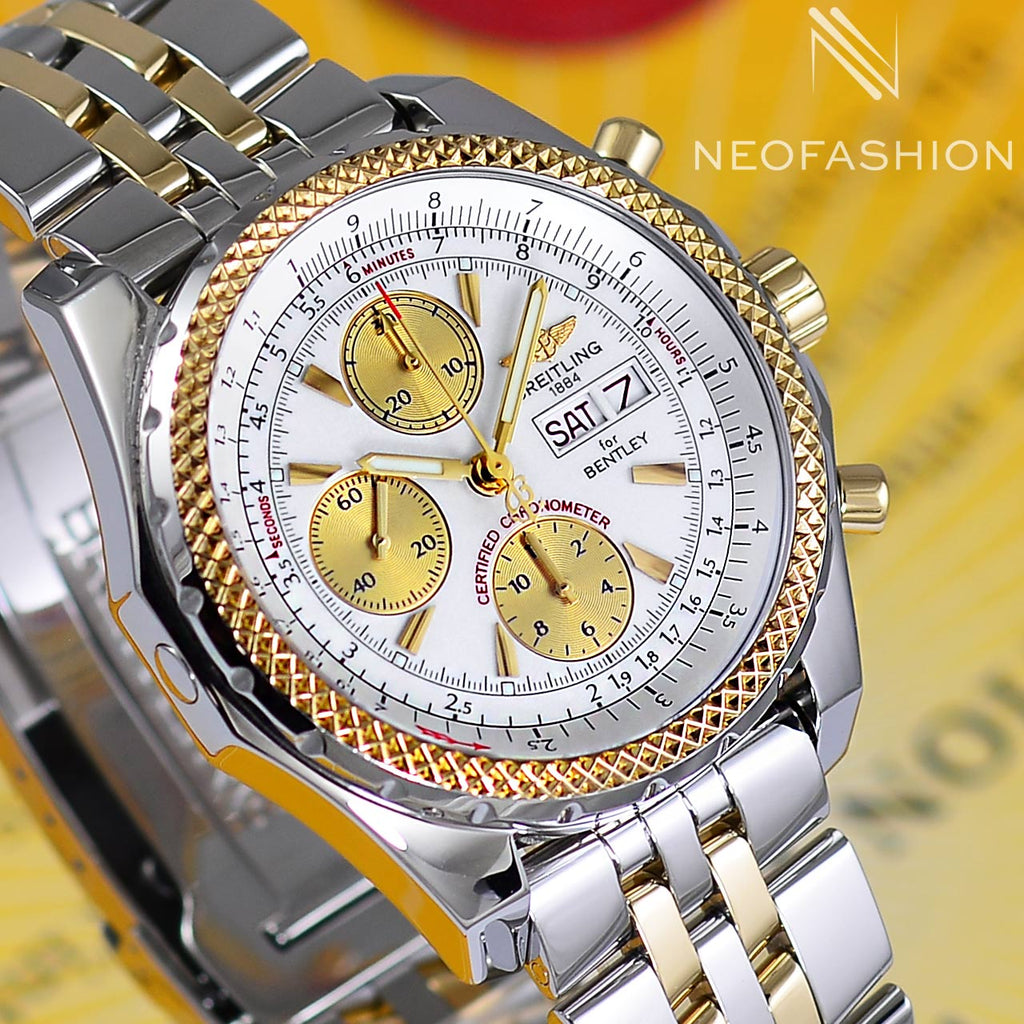 Breitling Bentley GT Continental Racing White Dial 18K Gold/SS B13362