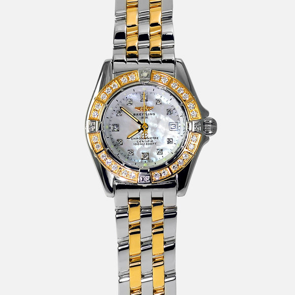 Breitling Callistino 18k Gold/SS Ladies Chronometer MOP Diamond D72345 - NeoFashion Store