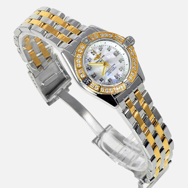 Breitling Callistino 18k Gold/SS Ladies Chronometer MOP Diamond D72345