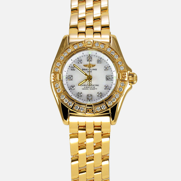Breitling Callistino 18K Yellow Gold Factory Diamond Ladies Watch K72345