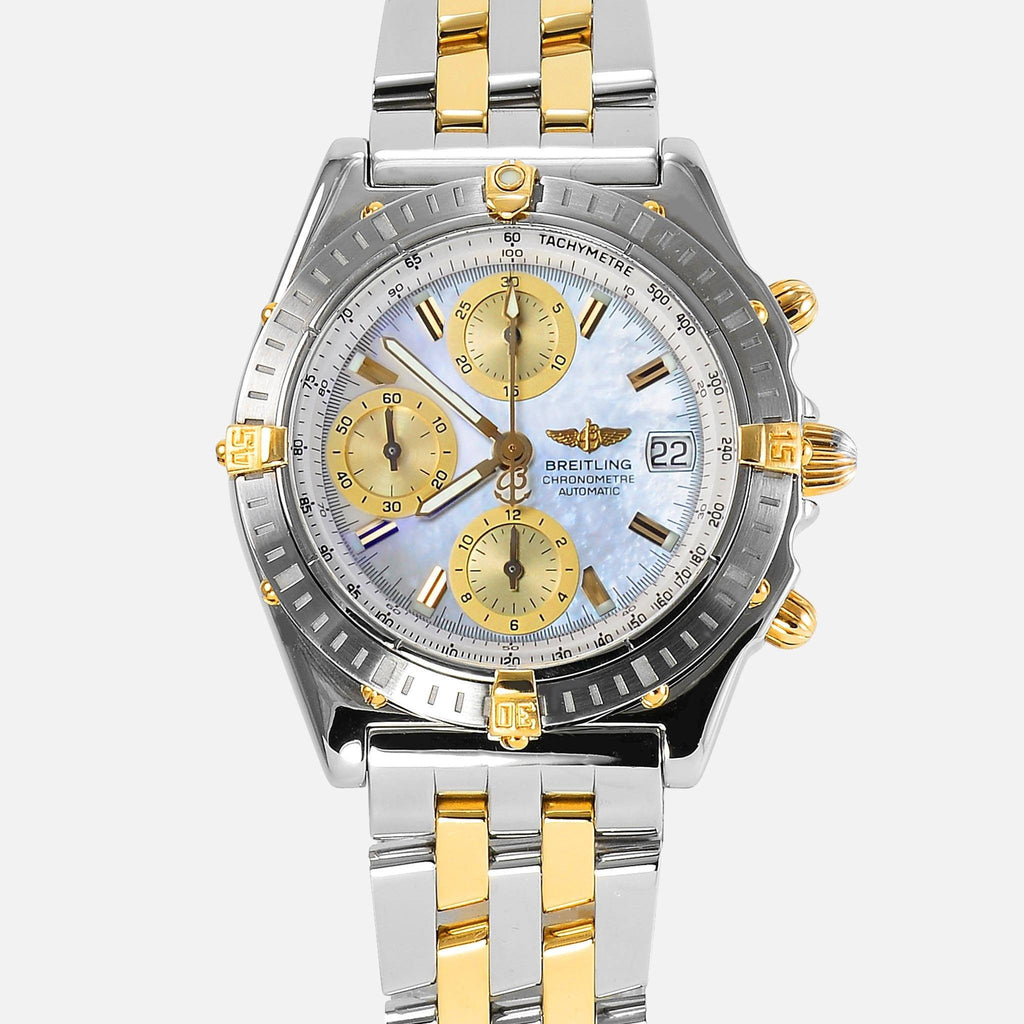 Breitling Chronomat 18K Gold/SS Mother Of Pearl Dial B13352 - NeoFashionStore