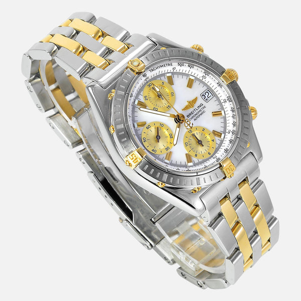 Breitling Chronomat 18K Gold/SS Mother Of Pearl Dial B13352