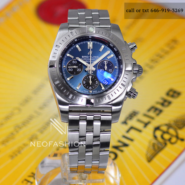 mens blue breitling ab0115 44mm brushed steel case