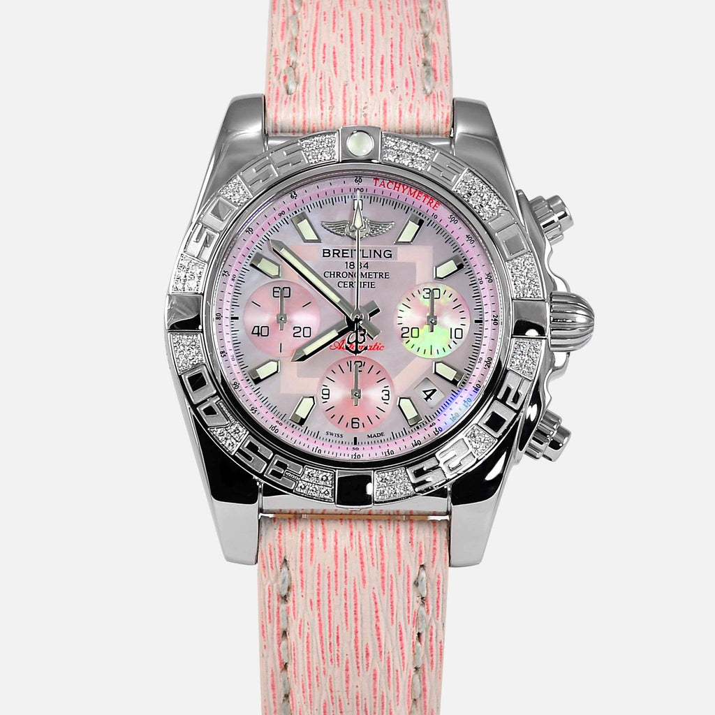 Breitling Chronomat 41mm Pink Dial Diamond Bezel Limited 100pcs AB0140 - NeoFashionStore