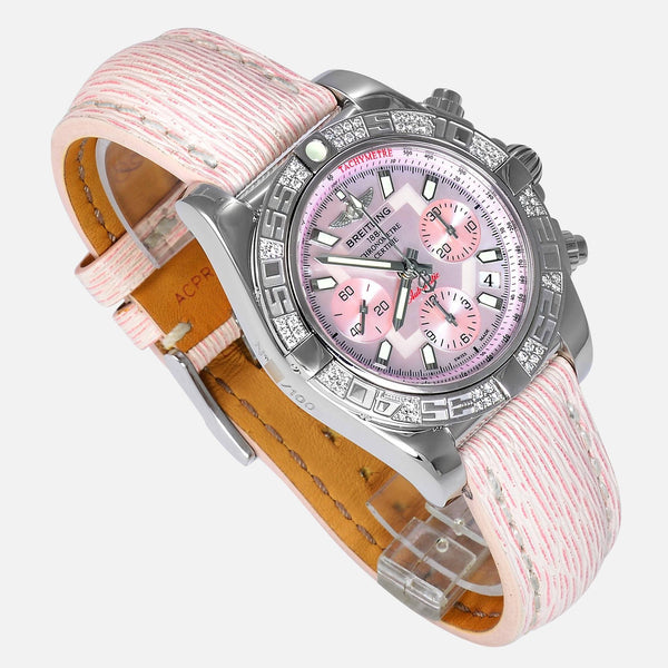 Breitling Chronomat 41mm Pink Dial Diamond Bezel Limited 100pcs AB0140