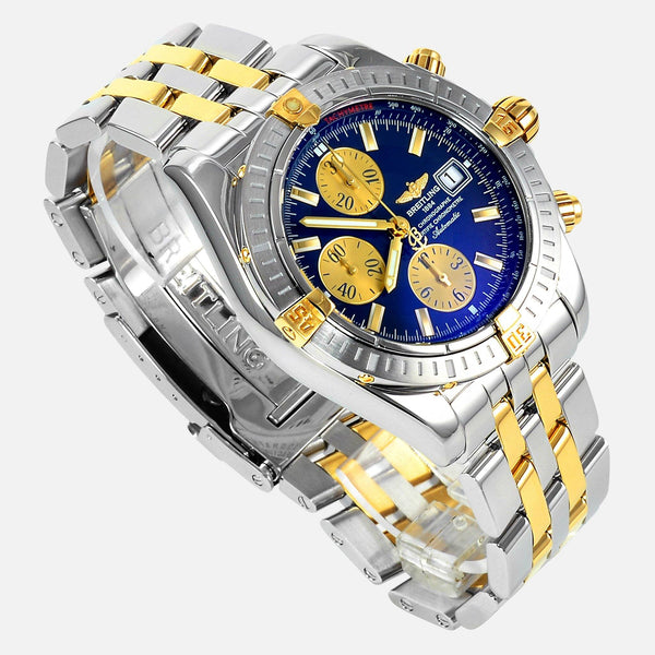 Breitling Chronomat Evolution 18K Gold/SS Blue Dial B13356