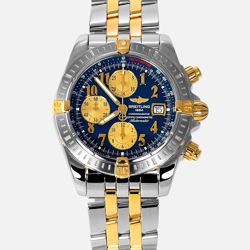 Breitling Chronomat Evolution 18K Gold/SS Blue Dial B13356 - NeoFashionStore