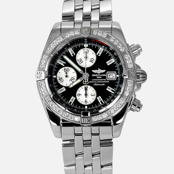Breitling Chronomat Evolution Black Dial Diamond Bezel A13356
