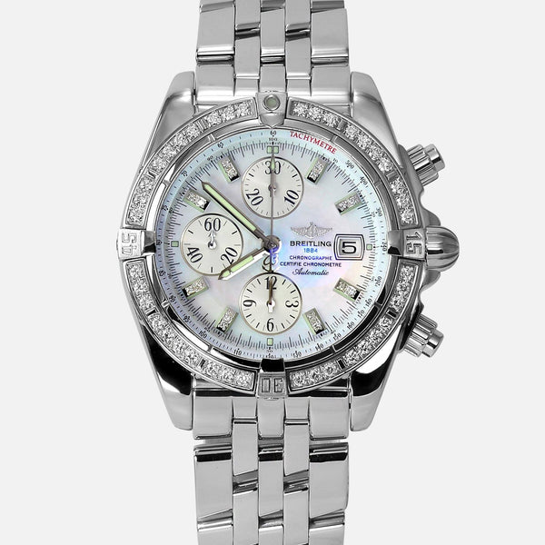 Breitling Chronomat Evolution Diamond Bezel & Pearl Diamond Dial A13356