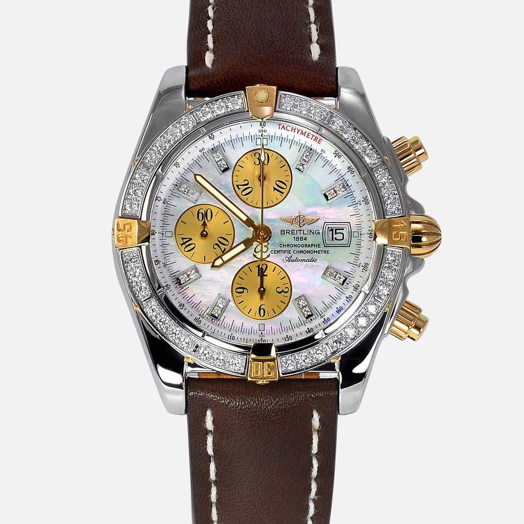 Breitling Chronomat Evolution 18K/SS Diamond Bezel & Pearl Diamond Dial B13356 - NeoFashionStore