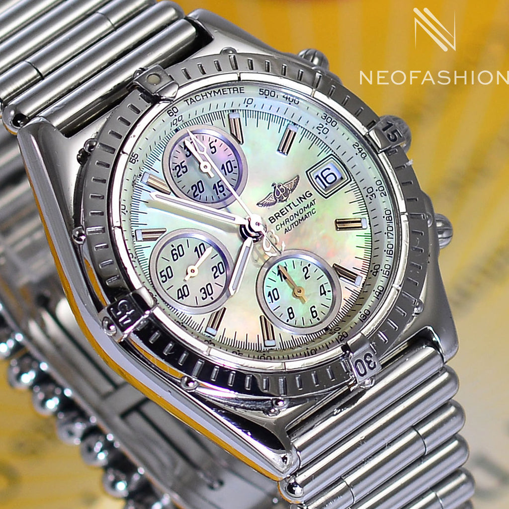 Breitling Chronomat with Mother Of Pearl MOP Dial Bullet Bracelet Watch A13050 - NeoFashionStore
