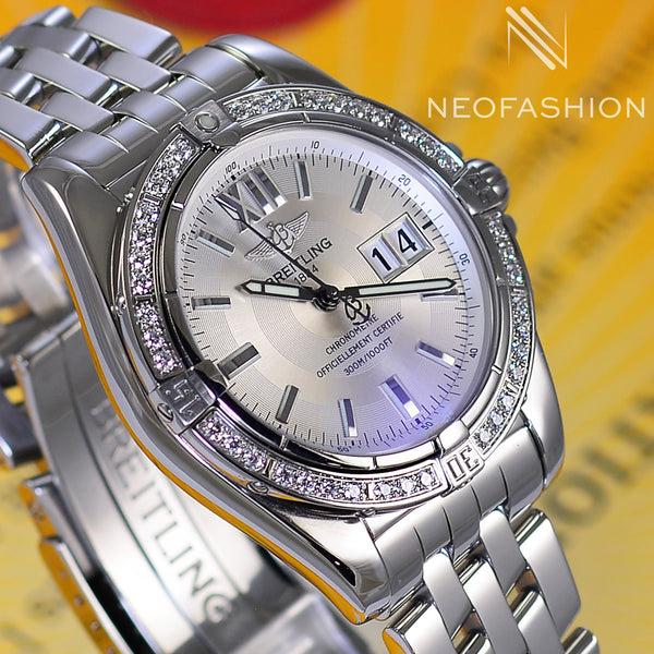 Breitling Cockpit 41 Automatic Big Date Factory VVS Diamond Bezel A49350 - NeoFashionStore