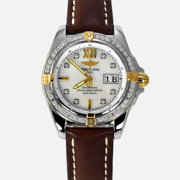 Breitling Cockpit Automatic 18K Gold/SS Dimond MOP B49350 - NeoFashionStore