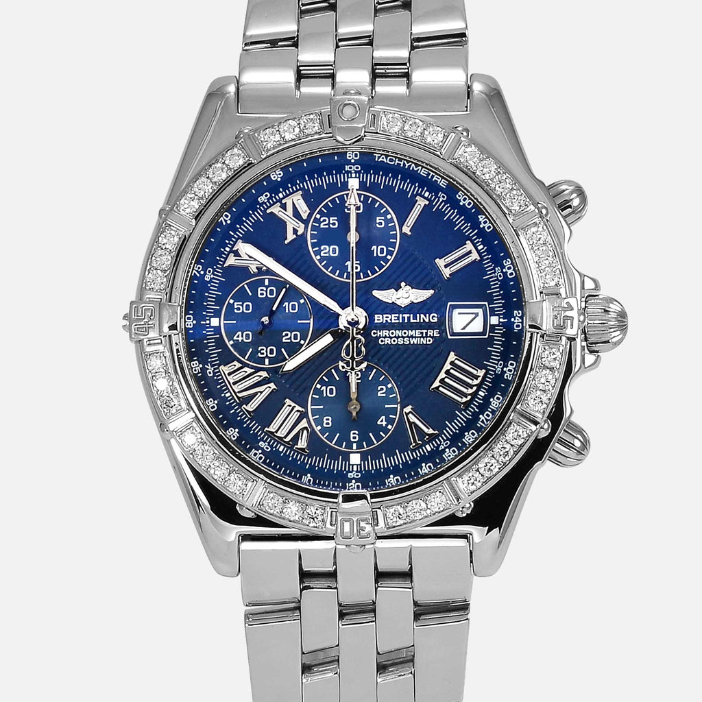 Breitling Crosswind Blue Dial Steel With Diamond Bezel A13355 - NeoFashionStore