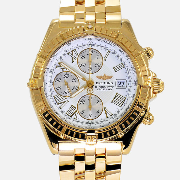 Breitling Crosswind Chronograph Solid 18K Gold White Dial Watch K13355