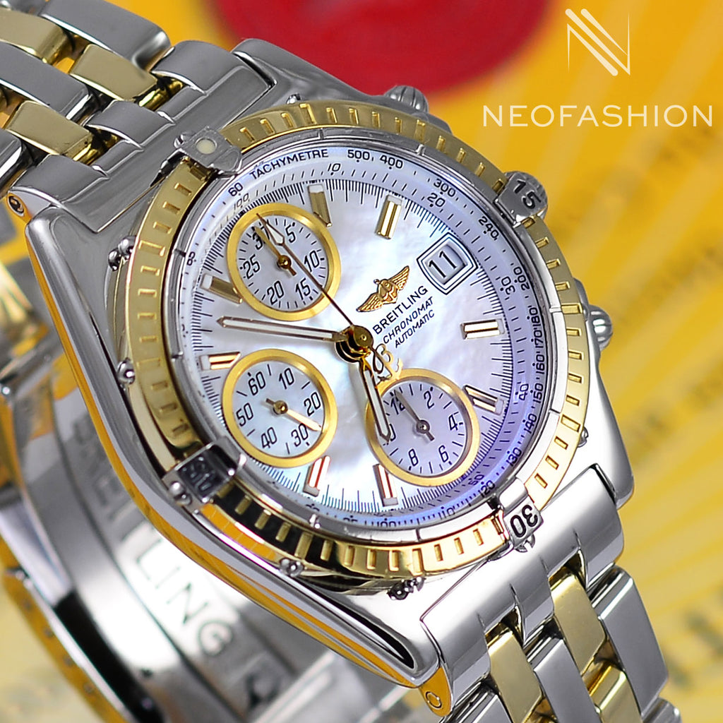mens breitling chronomat with 18k gold bezel and mother of pearl dial