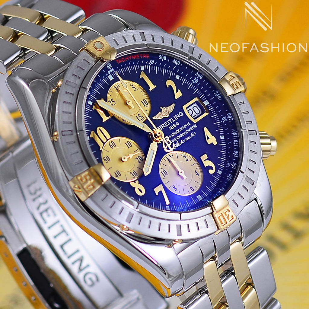 Breitling Chronomat Evolution 18K Gold/Steel Blue Dial B13356