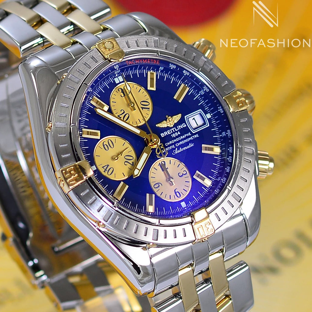 Breitling Chronomat Evolution 18K Gold/Steel Blue Dial B13356 - NeoFashionStore