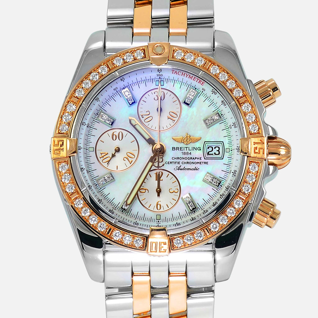 Breitling Chronomat Evolution VVS Diamonds 18K Rose Gold/Steel MOP Dial C13356 - NeoFashionStore