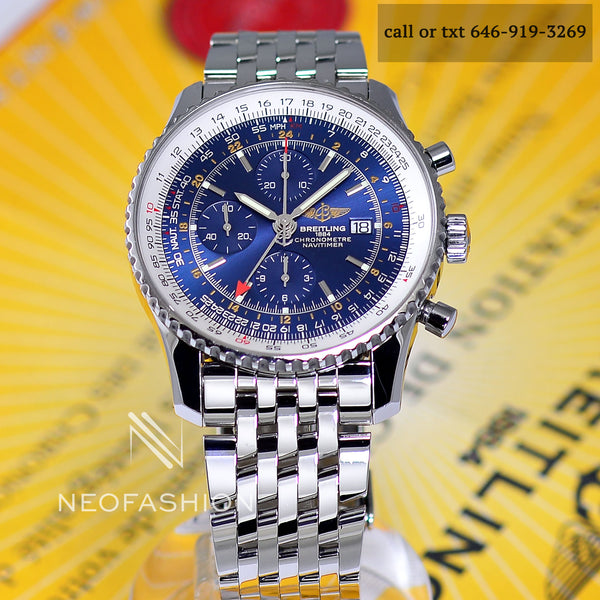 mens breitling navitimer world watch with 2nd time zone and swiss movement