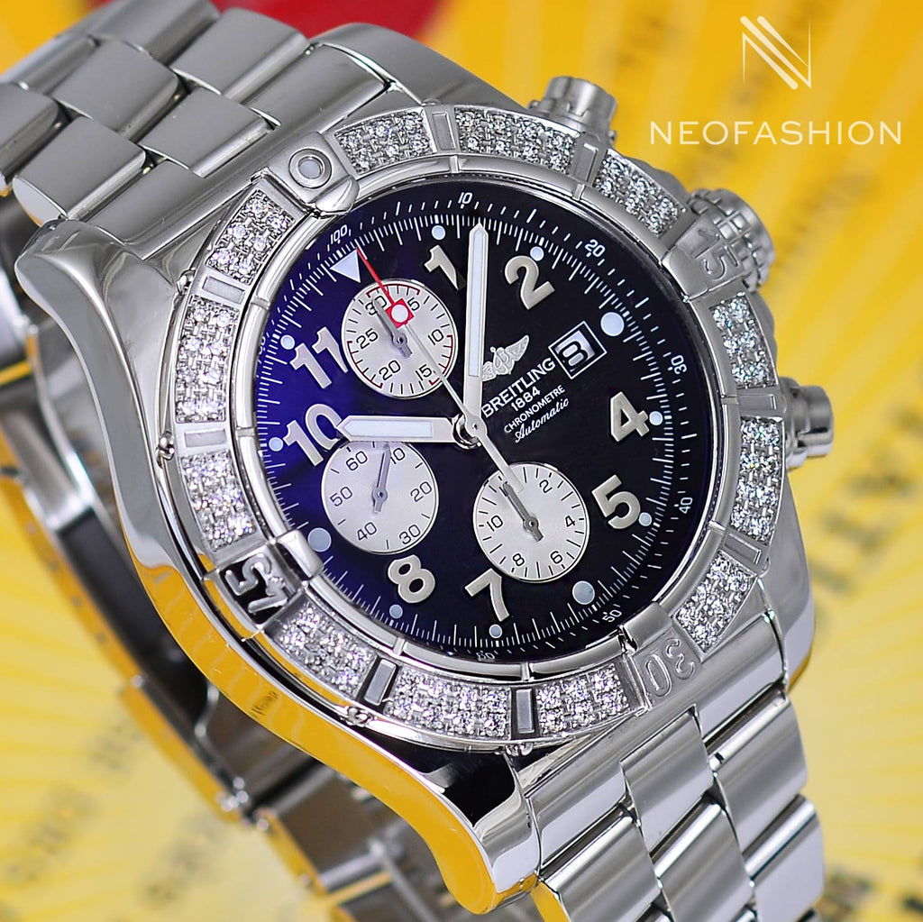 Breitling Super Avenger Factory Diamond Bezel Black Dial A13370