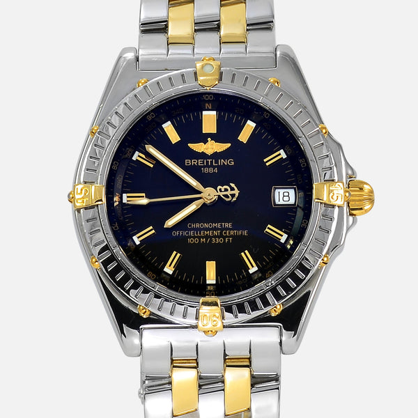 Breitling Wings Automatic Black Dial Two-Tone 18K Gold/SS B10350 - NeoFashionStore