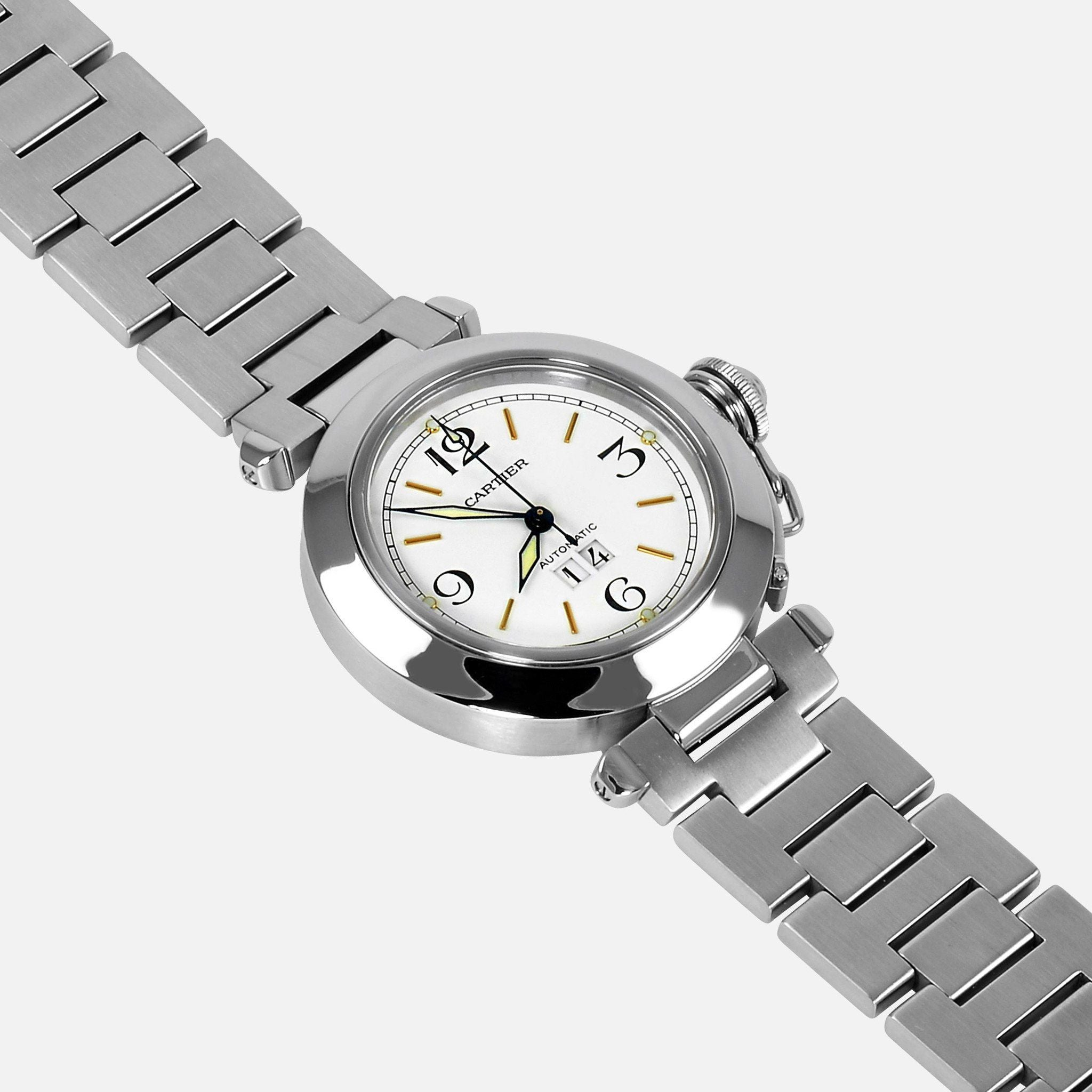 dial big cartier white steel watch pasha automatic c unisex watches products stainless neofashionstore luxury date