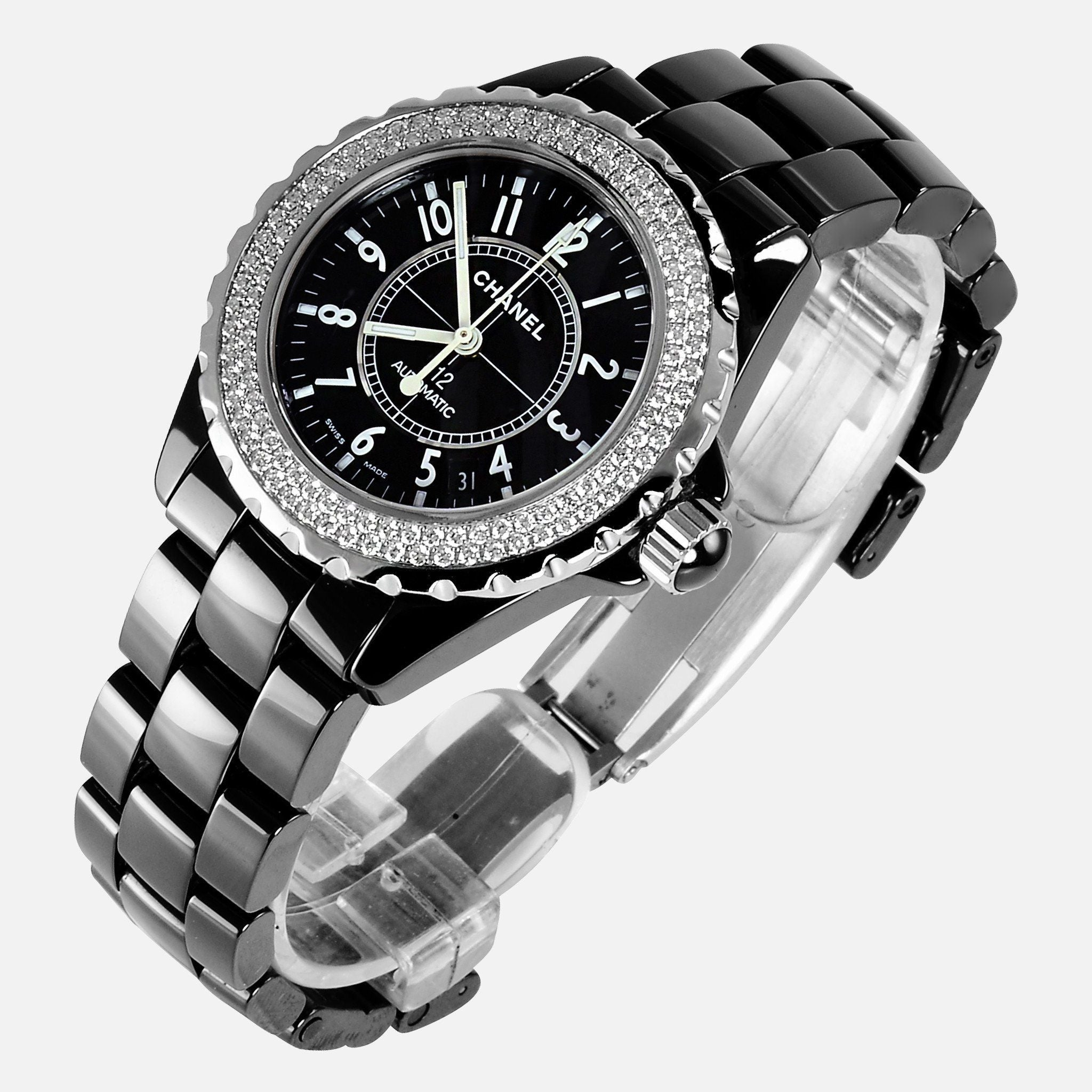 Chanel J12 Black Ceramic 38mm Unisex Automatic Diamond Watch