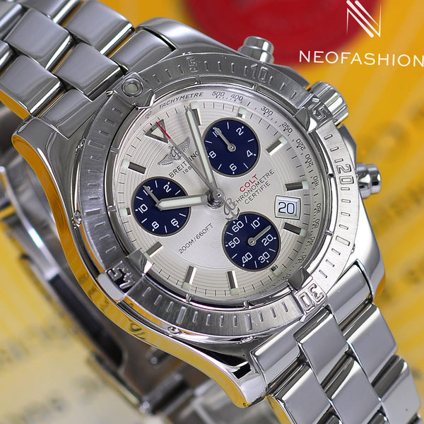Breitling Colt Chronograph 41mm Super Quartz Stainless Steel White A73380 - NeoFashionStore