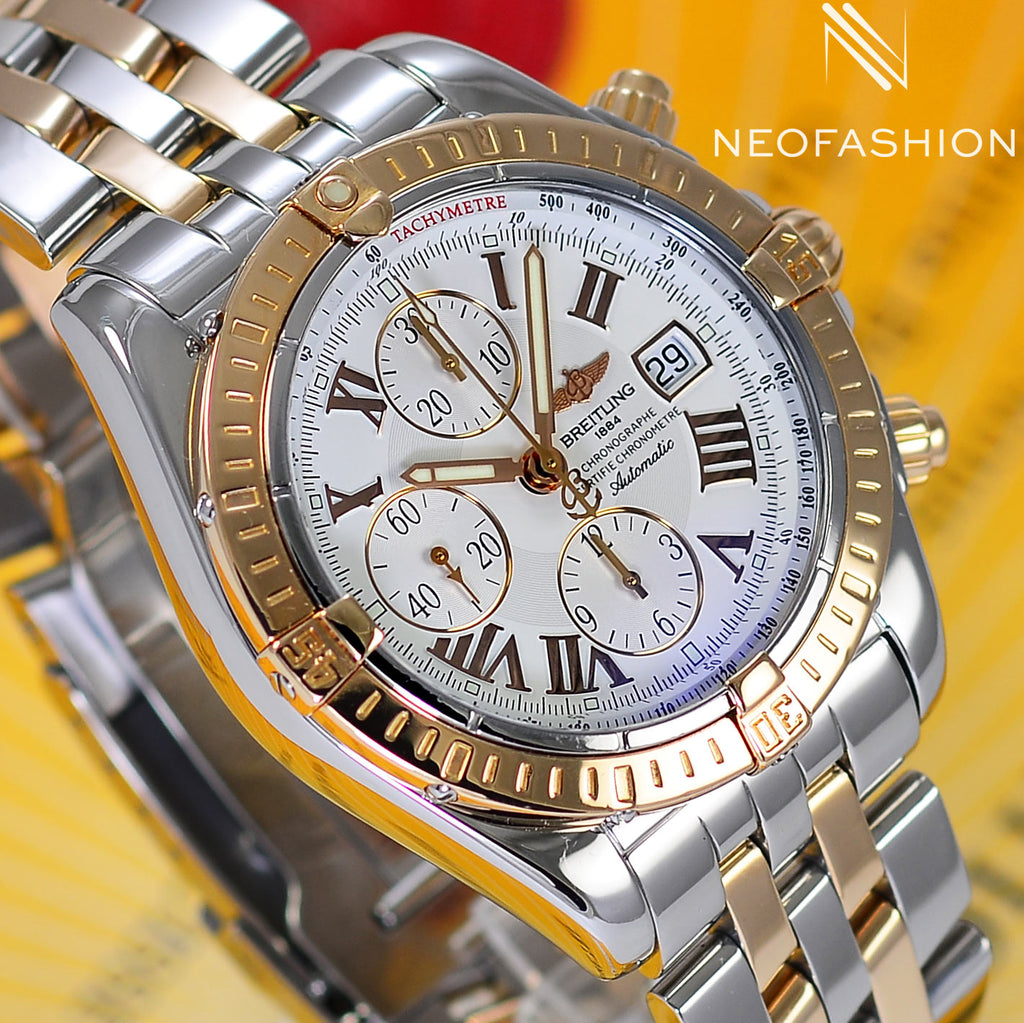 Breitling Chronomat Evolution 18K Rose Gold/Steel White Dial C13356 - NeoFashionStore