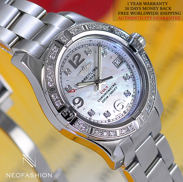 Breitling Colt Oceane Lady MOP dial & Diamond Bezel A77388 - NeoFashionStore